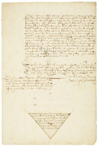 Brief met handtekening van Michiel de Ruyter. 1657. Te zien in de tentoonstelling Drijfveer in Het Scheepvaartmuseum.