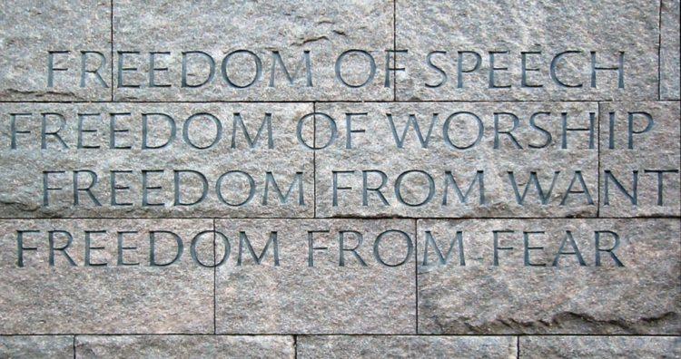 De 'Four Freedoms' op het Franklin Delano Roosevelt Memorial in Washington, D.C. - cc