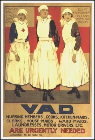 Recruteringsposter voor de Voluntary Aid Detachments