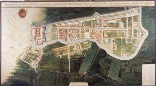 Reproductie van een plattegrond van Batavia uit circa 1627