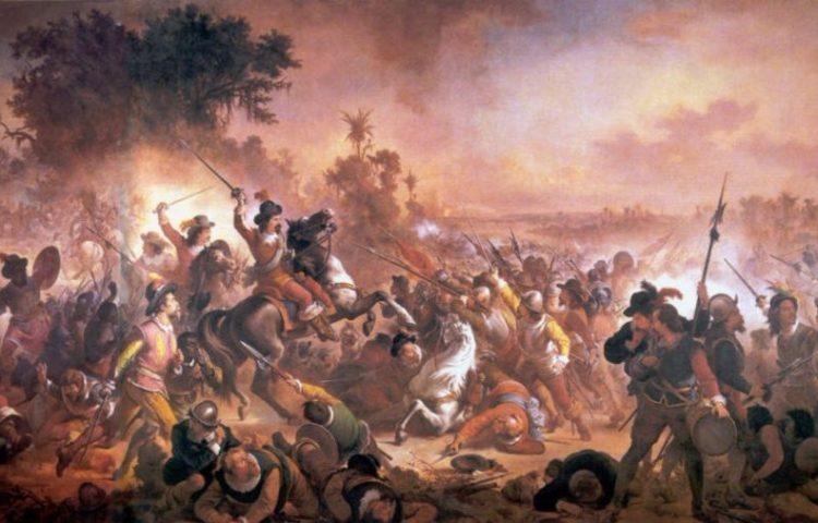 Schilderij van de Tweede Slag bij Guararapes, nabij Pernambuco in 1649, door Victor Meirelles (1879)