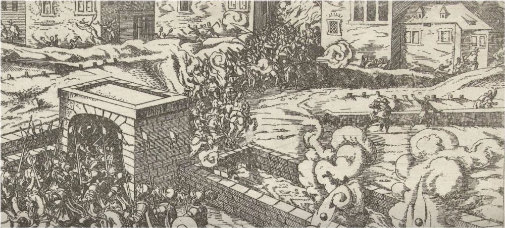 Uitval op de stad, door Frans Hogenberg (collectie: Rijksmuseum Amsterdam)