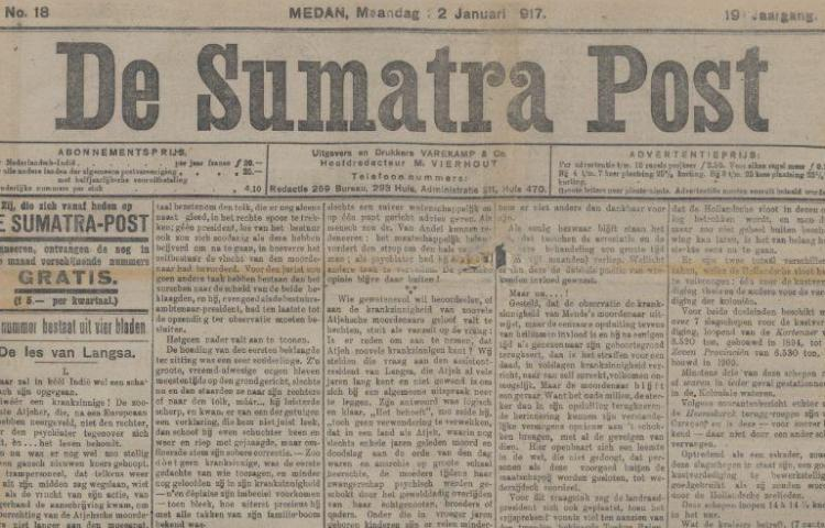 De Sumatra Post in januari 1917 (Delpher)