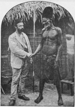 Camille Coquilhat en Mata-Buiké, chef van de Bangala (uit Le Congo belge en images, Brussel, 1927)