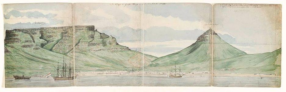 Jan Brandes, De Tafelberg en Kaapstad gezien vanaf de zee, 1787. Rijksmuseum, Amsterdam