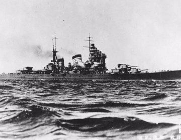 Japanse kruiser Haguro die Hr.Ms. kruiser De Ruyter tot zinken bracht, waarbij schout-bij-nacht Karel Doorman omkwam.
