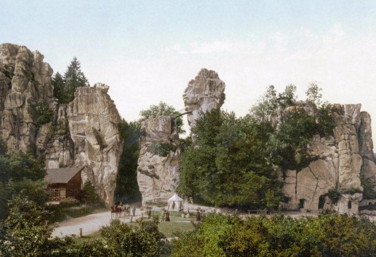 Externsteine rond 1900 (photochrom)