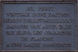 Gedenkplaat Jacob van Artevelde in Gent