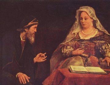 Mordechai, links afgebeeld op een schilderij van Aert de Gelder.