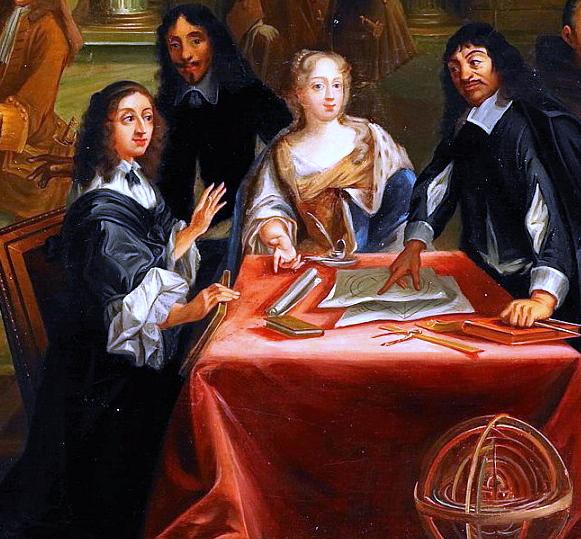 René Descartes (rechts) met koningin Christina van Zweden