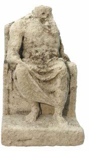 Romeins beeld van kalkzandsteen god Jupiter