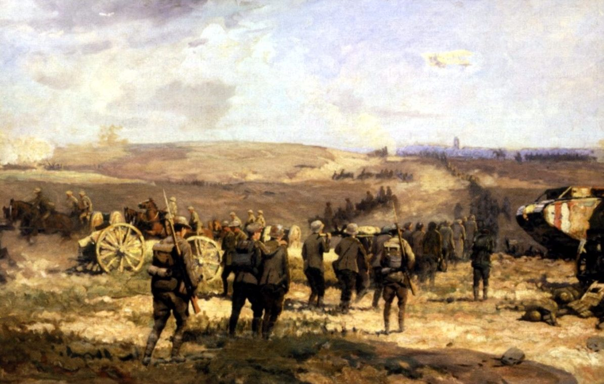 8 august 1918 door Will Longstaff. Duitse krijgsgevangenen worden naar Amiens weggeleid.