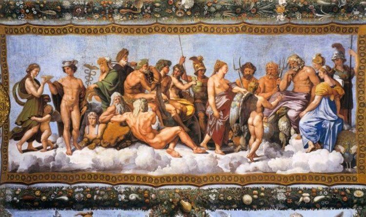 Raad van de goden, geschilderd door Raffaello Sanzio tussen 1517-1518 – Villa Farnesina Rome