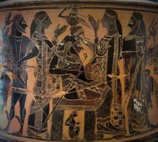 Een zwartfigurige Attische exaleiptron (drievoet) waarop de geboorte van Athena is afgebeeld, toegekend aan de 'C Schilder', datering circa 570–560 voor Christus – Louvre Parijs