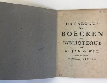 Catalogus Van Boecken in de Bybliotheque van Mr. Jan de Wit