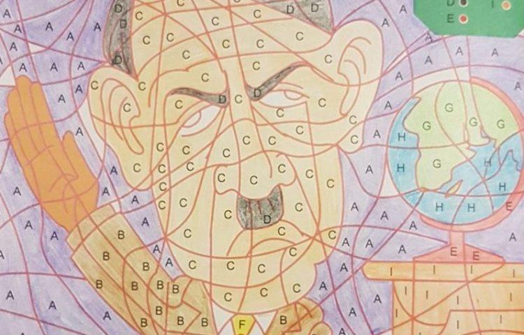 Kleuren op Code - Tekening van Adolf Hitler (Facebook)