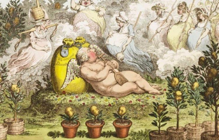 Spotprent over stadhouder Willem V - De Orangerie, de Hollandse cupido (James Gillray)