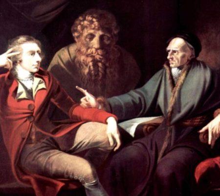 Twee mannen in discussie, die 'iets te berde brengen' - Johann Heinrich