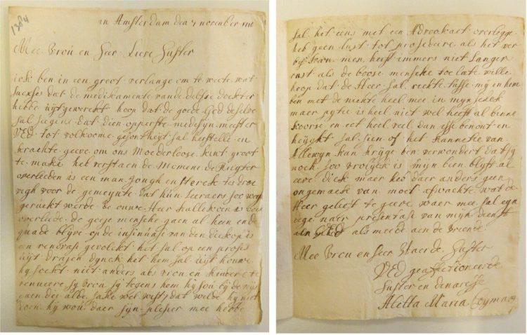 Brief van Aletta Maria aan haar zus Elisabeth, geschreven op 7 november 1710. Het Utrechts Archief, Archief Familie Van der Muelen, inventarisnummer 82.