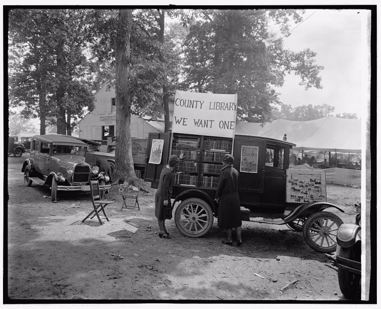 Rijdende bibliotheek in Maryland, 1928