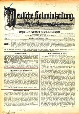 """De Duitser als kolonisator"" in de Kolonialzeitung. Bron: Kolonialzeitung (1921) 1. Universiteitsbibliotheek Leiden, V 1211."