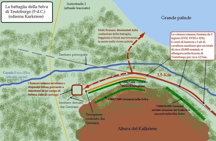 Kaart van de Slag bij het Teutoburgerwoud (cc - wiki)