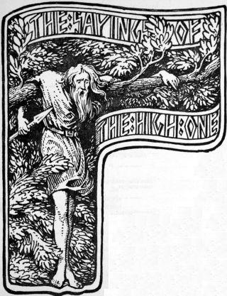De god Odin hangt in de boom om zichzelf te offeren aan zichzelf , zoals beschreven in Hávamál.