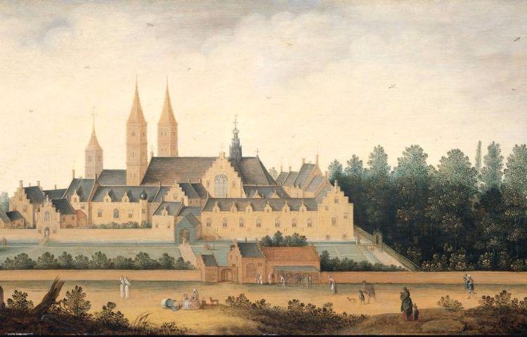 Abdij van Egmond op een afbeelding uit 1628 (wiki)