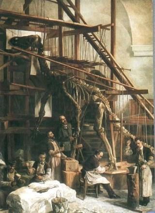 De eerste reconstructie van een Iguanodon in de Sint-Joriskapel te Brussel. (wiki)