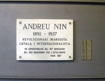 Plaquette in Barcelona ter nagedachtenis aan Andreu Nin (cc - Enfo)
