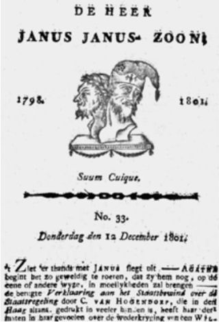 Titelpagina van De Heer Janus Janus-zoon van Bernardus Bosch, 12 december 1801.