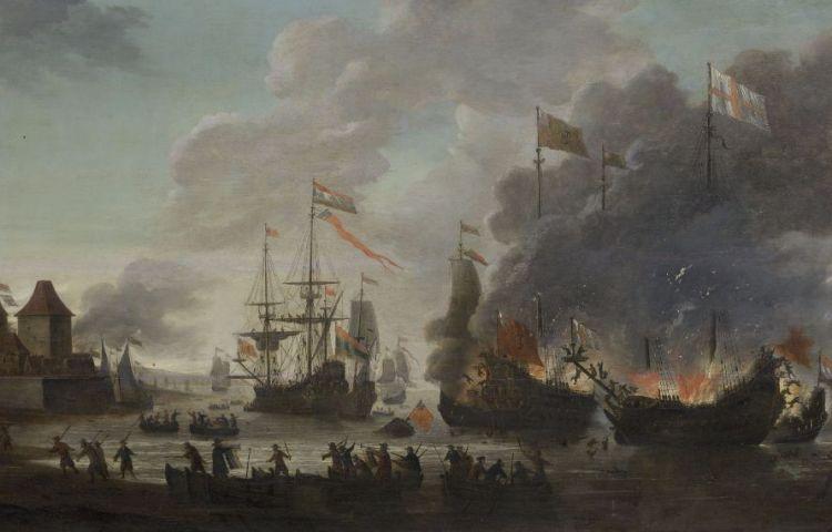 Jan van Leijden, De Hollanders steken Engelse schepen in brand tijdens de Tocht naar Chatham, 20 juni 1667. Olieverf op paneel, 1667-1669; 93 x 156,5 cm. Rijksmuseum Amsterdam