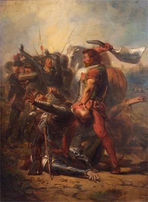 De dapperheid van Grutte Pier, anno 1516, negentiendee-eeuws schilderij dat de strijd van Grote Pier verheerlijkt (Johannes Hinderikus Egenberger, olie op doek, Stadhuis Sneek)