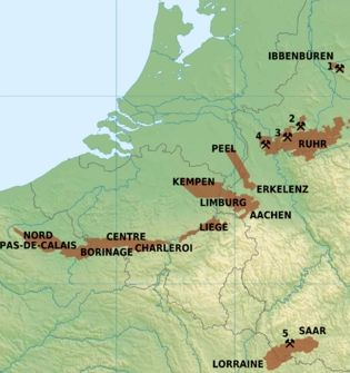 De steenkoolgebieden in België, Nederland en Duitsland  in het bruin  Bron: Hans Erren, CC Wikimedia Commons