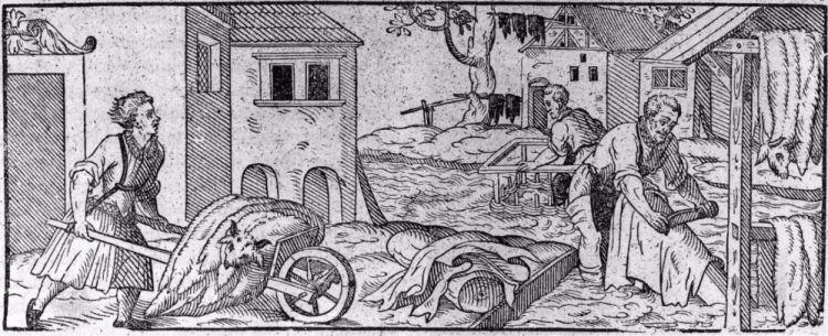 Houtsnede van een looierij uit de 16e eeuw. (Archeologie West-Friesland)