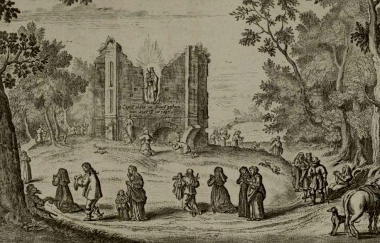 Bedevaartgangers bij de Runxput en de Onze Lieve Vrouwe ter Nood te Heiloo, 1637, anoniem, in of na 1637 (Rijksmuseum)