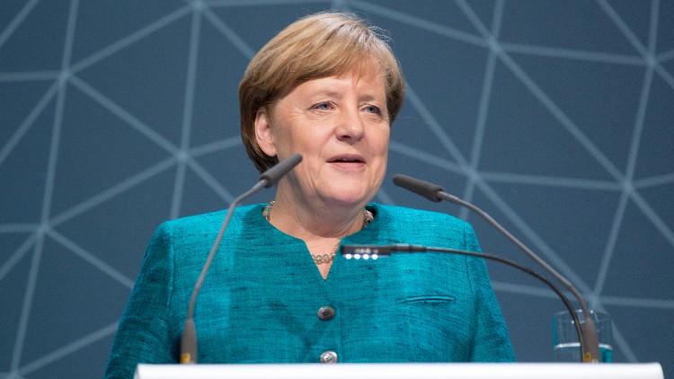 Angela Merkel bij International Maritime Organization. Bron: cc/IMO