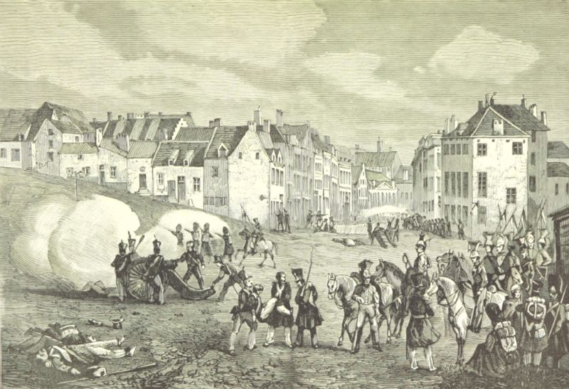 Het regeringsleger trekt Brussel binnen via de Naamse Poort op donderdag 23 september 1830