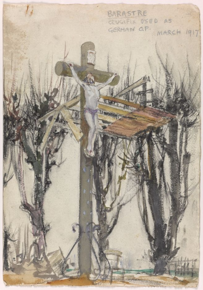 Barastre. Crucifix Used as German OP, March 1917 ©E H Shepard and Imperial War Museums, reproduced with permission of The Shepard Trust & Curtis Brown Group Ltd.