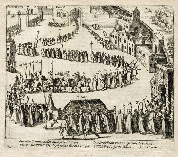 Aankomst van de begrafenisstoet van de Hertog van Parma in Brussel 1592. Prent uit 'de Nassausche Oorloghen' van Willem Baudartius.