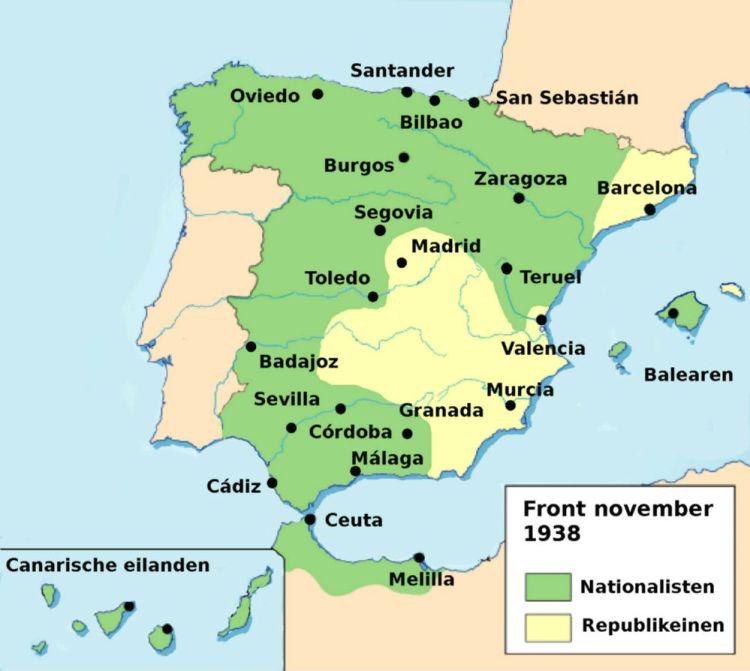 Front van de Spaanse Burgeroorlog, kaart van november 1938