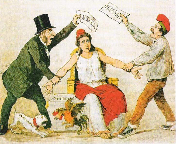 Satirische tekening over de strijd tussen federalisten en unitarissen (La Flaca, 3 maart 1873)