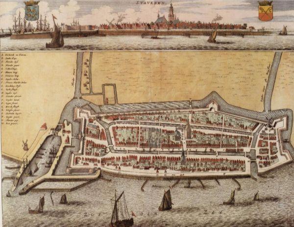 Historische kaart en stadsgezicht van Stavoren uit 1664
