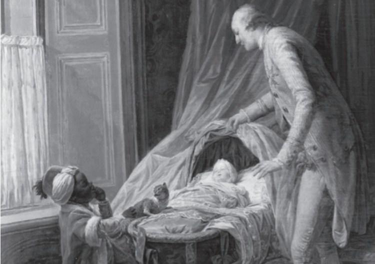 Nicolas Bernard Lepicie, Louis Philippe Duc de Valois (hertog van Chartres), 1773. Na de dood van zijn vader in 1785 werd Louis Philippe tevens hertog van Orléans. In de wieg ligt zijn zoon Louis Philippe. De kleine donkere jongen naast de wieg kan bijna niemand anders zijn dan de ongeveer driejarige Scipion