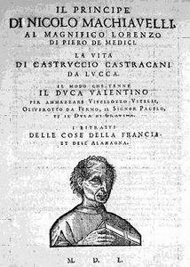 Omslag van Machiavelli's Il Principe en La Vita di Castruccio Castracani da Lucca uit 1550.