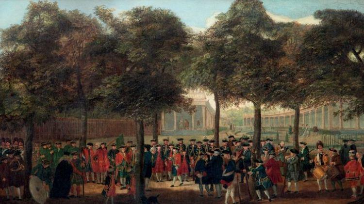 3 T.P.C. Haag, De schutterijop Het Loo, circa 1770. Bij een boom op de voorgrond zijn Cupido en Sideron afgebeeld.