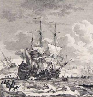 De Walvischvangst, gravure uit 1781 (detail)