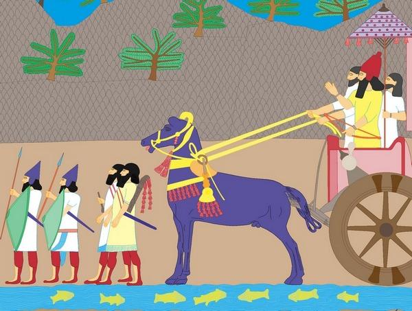 Kleurreconstructie van een Assyrisch reliëf (in het RMO meters groot)