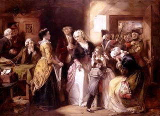 Lodewijk XVI en zijn gezin tijdens hun aanhouding in Varennes - Thomas Falcon Marshall (1818-1878)