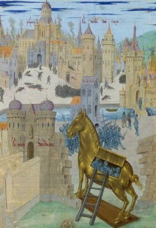 Paard van Troje op een middeleeuws manuscript